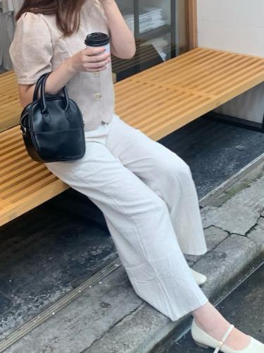 【Calmer】コットンリネンワイドパンツ(紐付き)