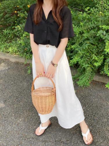 【IRUg】リネン混フレアスカート(ミモレ丈)