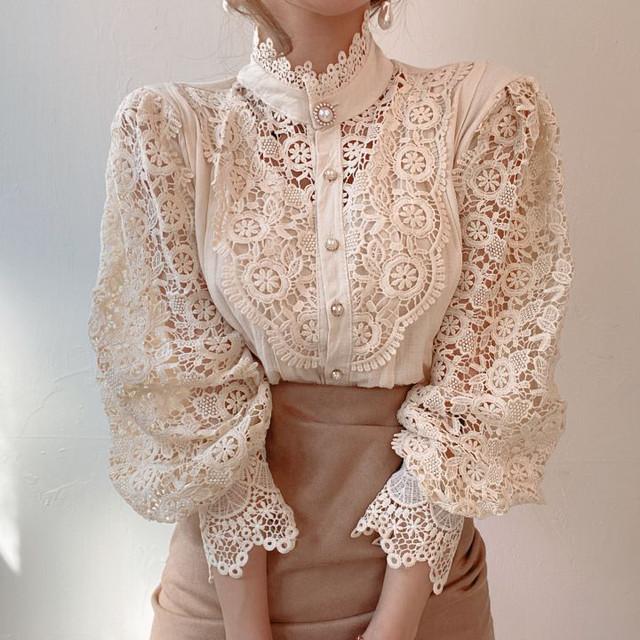 classic lace shirt A1044